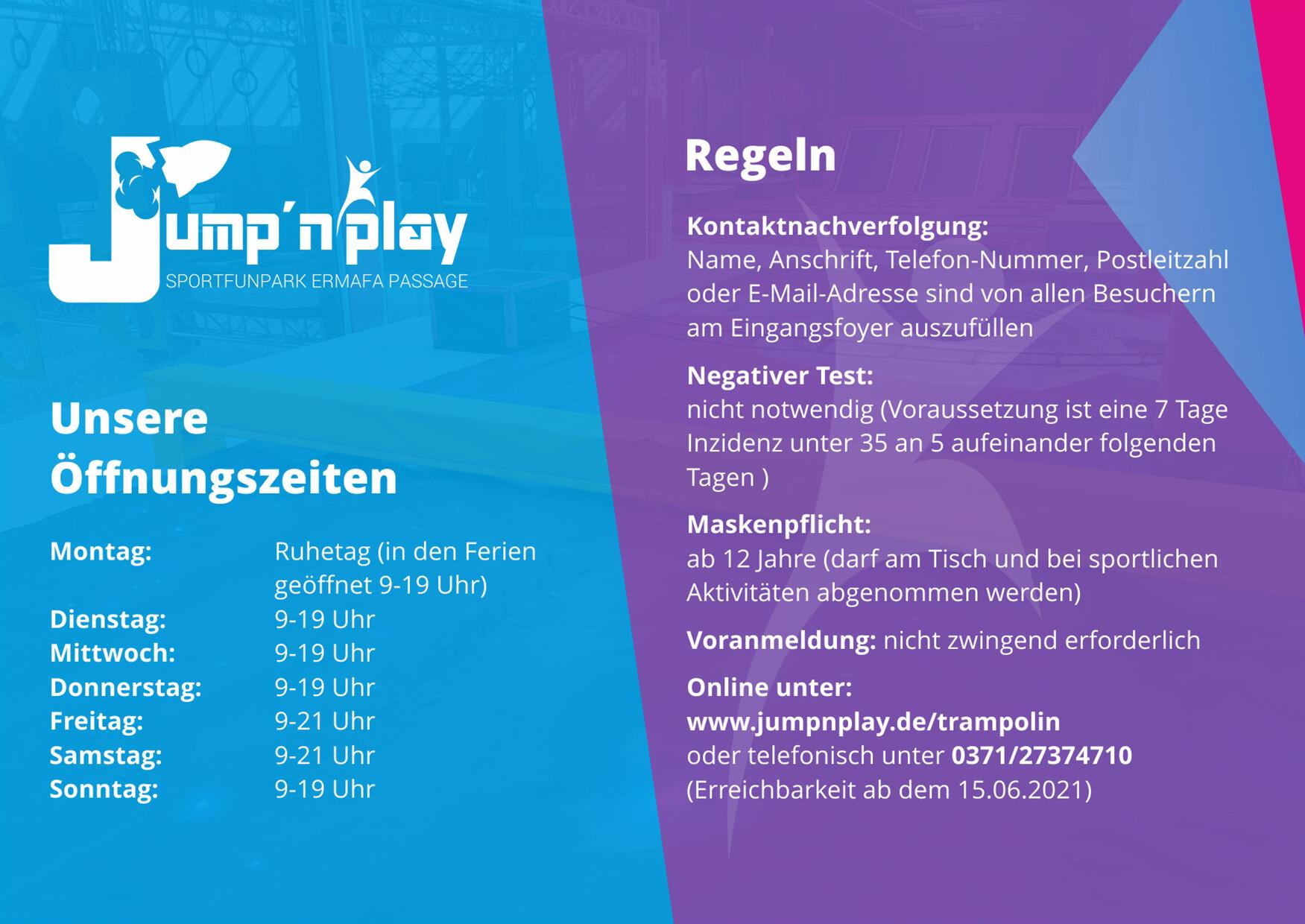 Jumpnplay_Anzeige Wiedereröffnung 2021_Oeffnungszeiten